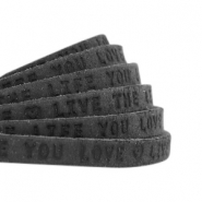 "Plat leer 5mm DQ met ""Live the life you love"" print Vintage black"