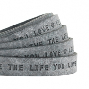 "Plat leer 10mm DQ met ""Live the life you love"" print Antracita Zwart"