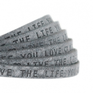 "Plat leer 5mm DQ met ""Live the life you love"" print Antracita Zwart"