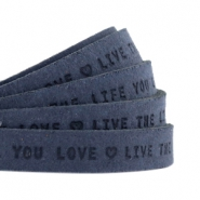 "Plat leer 10mm DQ met ""Live the life you love"" print Dark denim blue"