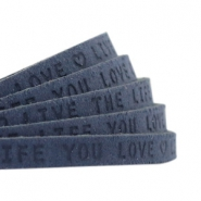 "Plat leer 5mm DQ met ""Live the life you love"" print Dark denim blue"