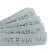 "Plat leer 10mm DQ met ""Live the life you love"" print Grey"