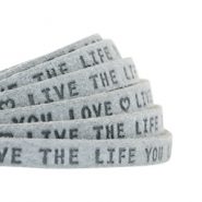 "Plat leer 5mm DQ met ""Live the life you love"" print Grey"