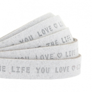 "Plat leer 10mm DQ met ""Live the life you love"" print Light Grey"