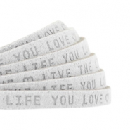"Plat leer 5mm DQ met ""Live the life you love"" print Light Grey"
