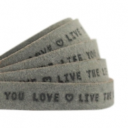 "Plat leer 10mm DQ met ""Live the life you love"" print Dark olive green"
