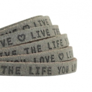 "Plat leer 5mm DQ met ""Live the life you love"" print Dark olive green"