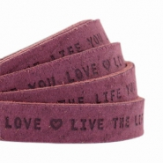 "Plat leer 10mm DQ met ""Live the life you love"" print Light aubergine red"