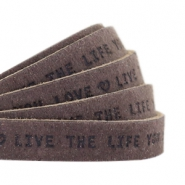 "Plat leer 10mm DQ met ""Live the life you love"" print Dark vintage brown"