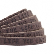 "Plat leer 5mm DQ met ""Live the life you love"" print Dark vintage brown"