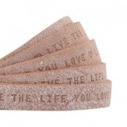 "Plat leer 10mm DQ met ""Live the life you love"" print Smoke cognac brown"