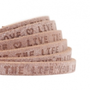 "Plat leer 5mm DQ met ""Live the life you love"" print Smoke cognac brown"
