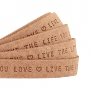 "Plat leer 10mm DQ met ""Live the life you love"" print Light cognac brown"