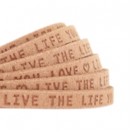 "Plat leer 5mm DQ met ""Live the life you love"" print Light cognac brown"