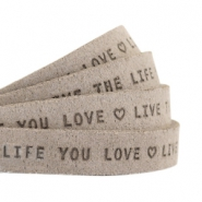 "Plat leer 10mm DQ met ""Live the life you love"" print Vintage brown"