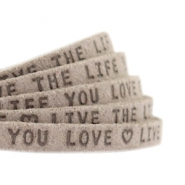 "Plat leer 5mm DQ met ""Live the life you love"" print Vintage brown"