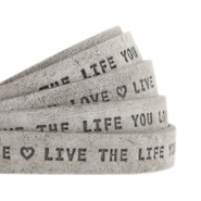 "Plat leer 10mm DQ met ""Live the life you love"" print Graphite grijs"