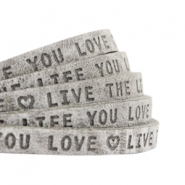 "Plat leer 5mm DQ met ""Live the life you love"" print Graphite grijs"