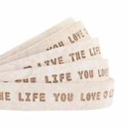 "Plat leer 10mm DQ met ""Live the life you love"" print Country Grey"