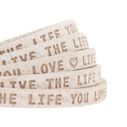 "Plat leer 5mm DQ met ""Live the life you love"" print Country Grey"