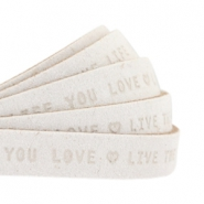 "Plat leer 10mm DQ met ""Live the life you love"" print Off White"