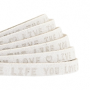 "Plat leer 5mm DQ met ""Live the life you love"" print Off White"