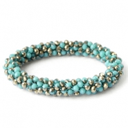 Facet armbanden top quality Turquoise opaque-half copper gold diamond coating