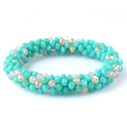 Facet armbanden top quality Turquoise green-white (opal/diamond)
