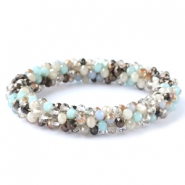 Facet armbanden top quality Light blue-greige mixed colours (metallic/opal/diamond)