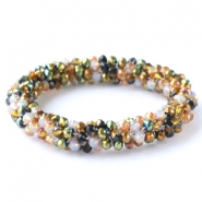 Facet armbanden top quality Green-white-copper mixed colours (metallic/opal/diamond)