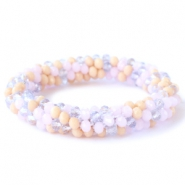 Facet armbanden top quality Rose alabaster-lavender-beige mixed colours (opaque/opal/diamond)
