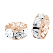 Strass kralen disc 8mm Rosegold-crystal