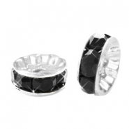 Strass kralen disc 8mm Silver-black