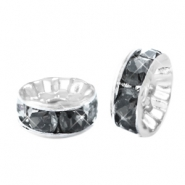 Strass kralen disc 8mm Silver-antracite