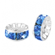 Strass kralen disc 8mm Silver-blue