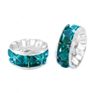 Strass kralen disc 8mm Silver-petrol blue