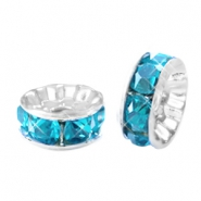 Strass kralen disc 8mm Silver-turquoise