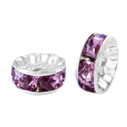 Strass kralen disc 8mm Silver-light aubergine purple