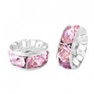 Strass kralen disc 8mm Silver-pink