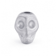 Kralen hematite Skull Light grey matt