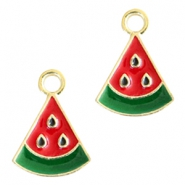 Basic quality metaal bedel watermelon Gold red-green