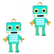 Basic quality metaal bedel robot Gold turquoise