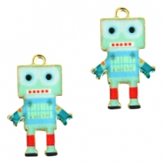 Basic quality metaal bedel robot Gold light turquoise