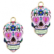Basic quality metaal bedel skull Gold pink