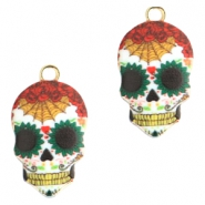 Basic quality metaal bedel skull Gold red-green
