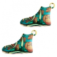 Basic quality metaal bedel sneaker Gold turquoise multicolour