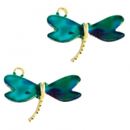 Basic quality metaal bedel libelle Gold  turquoise