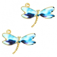 Basic quality metaal bedel libelle Gold white-blue