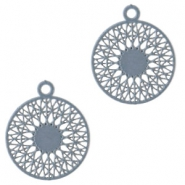 Bohemian hanger rond met oog 18mm Dark cloud blue