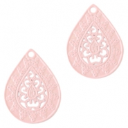 Bohemian hanger druppelvorm 20mm Light pink
